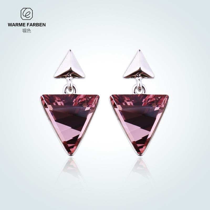 暖色采用施华洛世奇元素水晶耳环耳坠 时尚百搭耳环几何个性耳饰