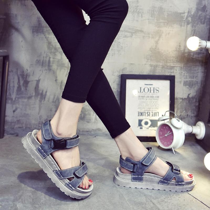 学生平底鞋韩国厚底松糕底百搭韩版女鞋凉鞋罗马夏季