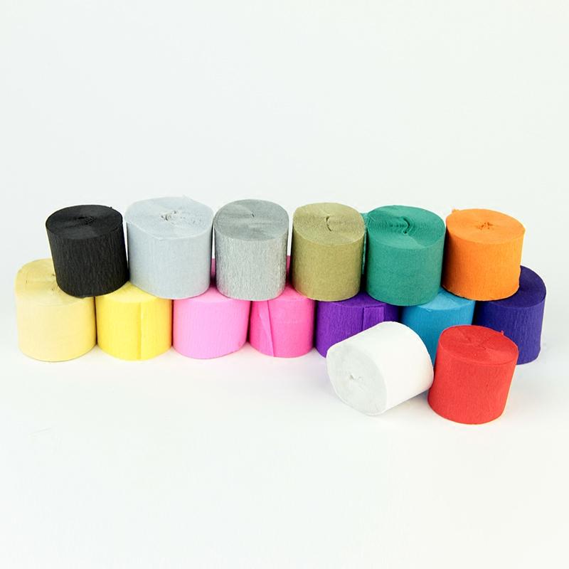 彩色皱纹纸手揉纸DIY手工材料 纸花纸玫瑰伸缩纸卷边纸10米