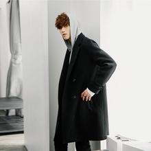 韩版 连帽毛呢外套男呢子西装 冬季妮子大衣男中长款 西西里男装