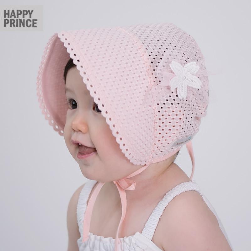 公主宝宝婴儿大宽檐新生防晒遮阳帽子纯棉透气系带
