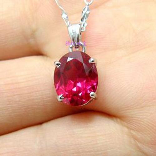 925纯银镶嵌进口红宝石项链坠女人红刚玉吊坠 简约饰品 生日礼物