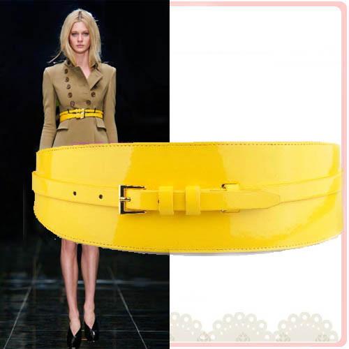 佰朵拉  春夏时尚女式双扣黄色宽腰带 2用韩版风衣装饰女士腰封
