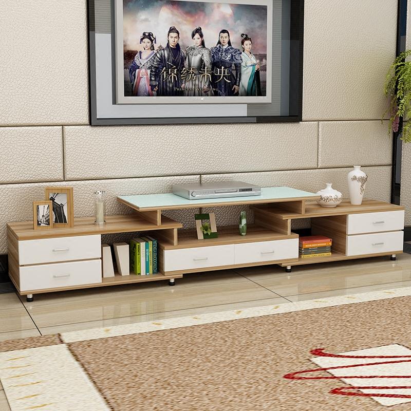 雅耐钢化玻璃伸缩电视柜茶几组合简约现代欧式小户型客厅电视机柜