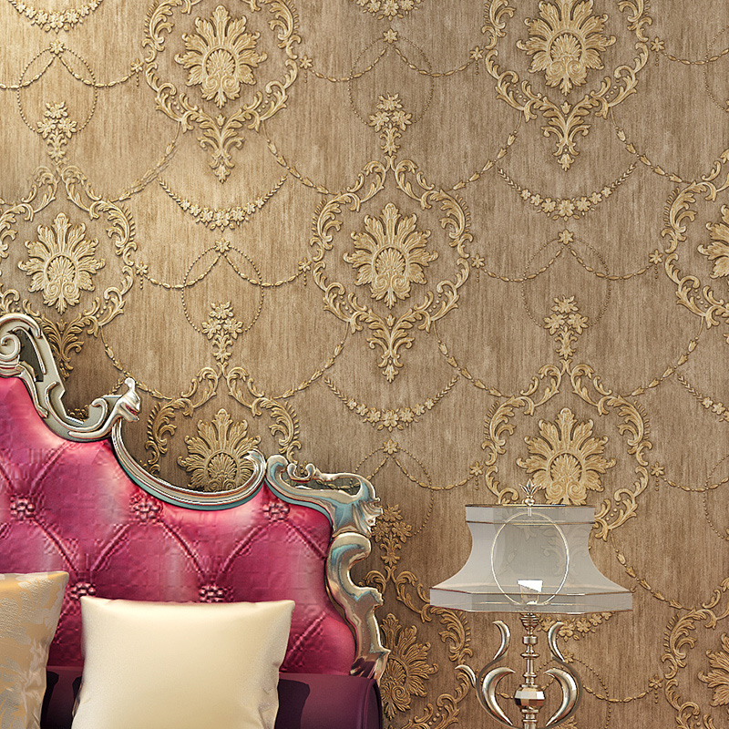 客厅电视背景墙壁纸 压纹无纺布壁纸卧室满铺 3D 复古欧式墙纸加厚