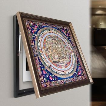 餐厅电表箱配电箱装饰画可推拉式遮挡现代客厅挂画【唐卡坛城图】