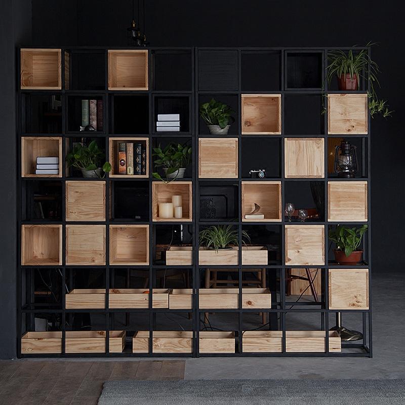 美式复古书架实木铁艺木框格子架客厅工作室置物架子