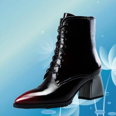 春秋女款高跟马靴真皮前系带短靴欧美风方跟休闲短筒拼色女靴子潮