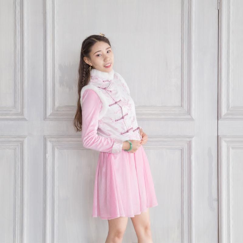 闲云清风原创设计中国风古典唐装马甲女装背心兔毛夹棉旗袍上衣冬