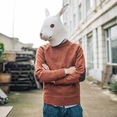 [Bytehare]兔先森纯色情侣复古针织衫修身文艺男装补丁套头毛衣潮