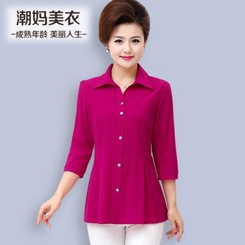 中年女装春装中袖T恤中老年夏装