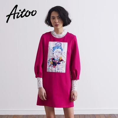[春装新品] Aitoo/艾凸 2016年春季新款女装创意手绘人物印花气质优雅连衣裙