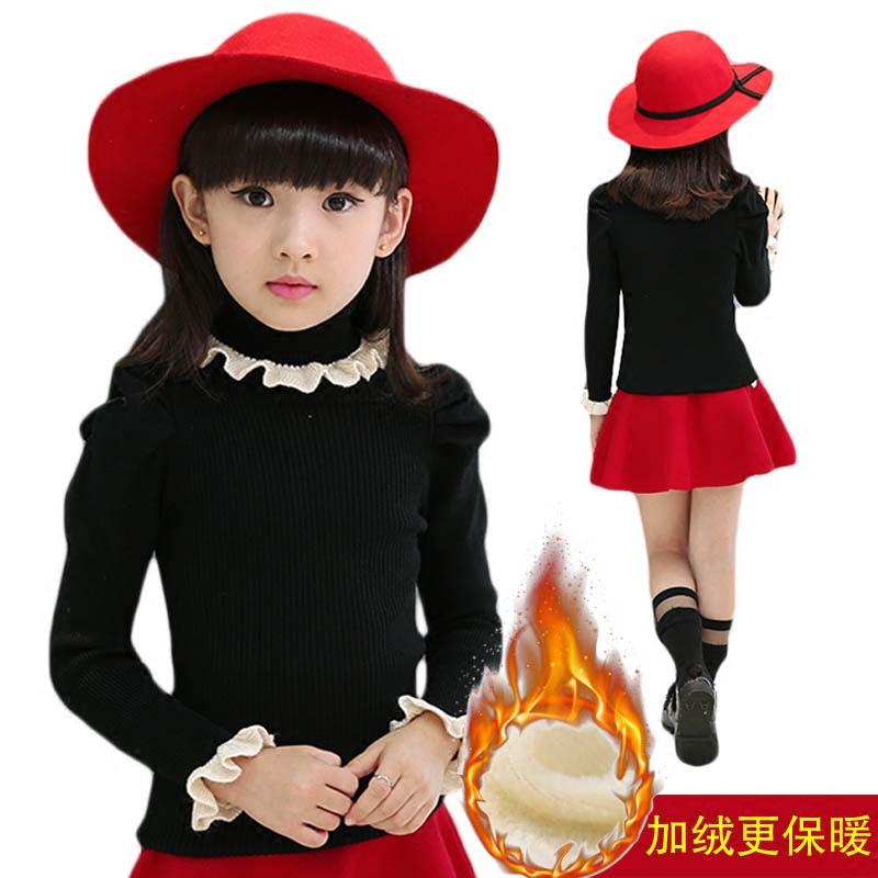 女童毛衣套头加绒秋冬中大童装高领黑色打底衫针织衫儿童宝宝线衣
