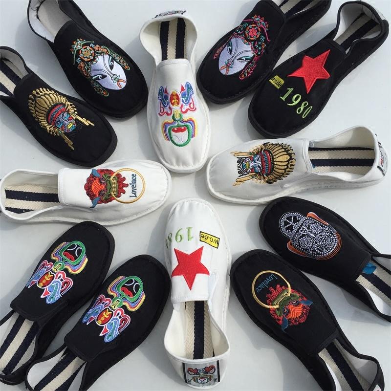 西山手工牛筋底一脚蹬中国风刺绣脸谱色鬼布鞋复古冬季加绒潮布鞋