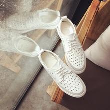 2017夏季新款女鞋镂空小白鞋女透气鞋韩版百搭厚底松糕鞋女休闲鞋