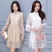 【天天特价】韩版气质小香风立领蕾丝灯笼袖连衣裙 甜美宽松A字裙