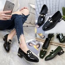 2017春季新款韩版英伦复古低帮小皮鞋方头女鞋子珍珠平底粗跟单鞋