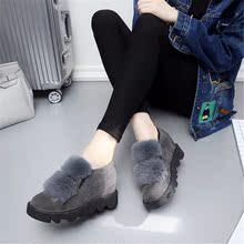 冬季新款豆豆鞋女厚底加绒毛毛鞋松糕底内增高休闲鞋韩版兔毛单鞋